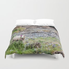 Ewe (Sheep) Posing with a Lupin in New Zealand Duvet Cover