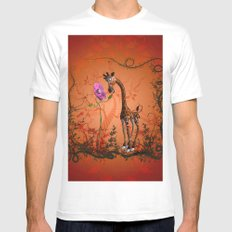 Cute giraffe with flower Mens Fitted Tee MEDIUM White