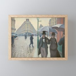 Paris Street Rainy Weather by Gustave Caillebotte, 1877 Framed Mini Art Print