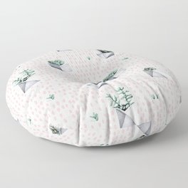 Potted Succulents Pink Polka Dots Floor Pillow