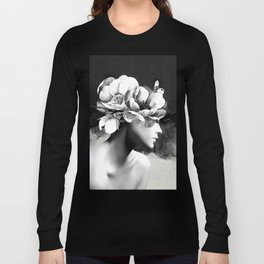 Floral Portrait-black and white Long Sleeve T-shirt