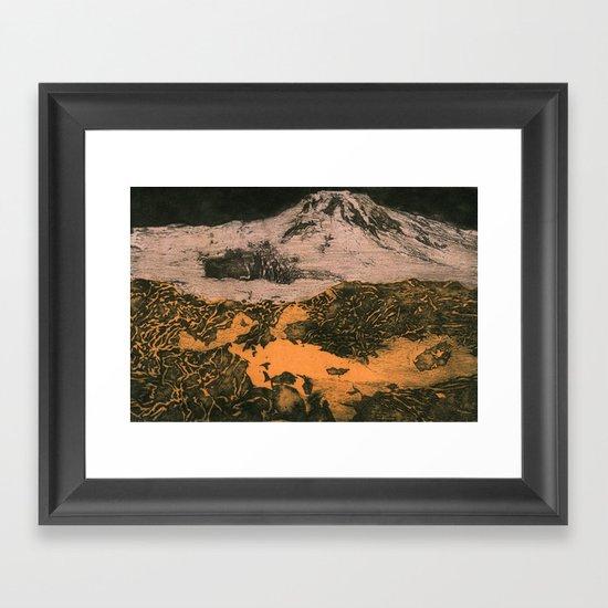 serene volcano Framed Art Print