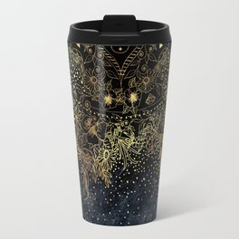 Stylish Gold floral mandala and confetti Travel Mug