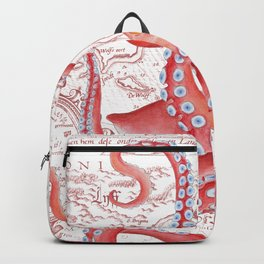 Red Octopus ancient Map White Backpack