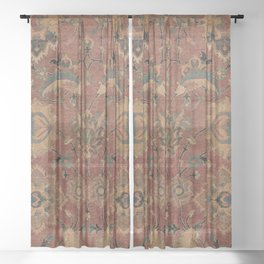Flowery Boho Rug IV // 17th Century Distressed Colorful Red Navy Blue Burlap Tan Ornate Accent Patte Sheer Curtain