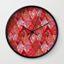 Patchwork red seamless pattern Wall Clock