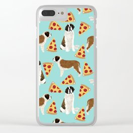 Saint Bernard pizza slices funny cute dog gifts for dog lover unique dog breeds Clear iPhone Case