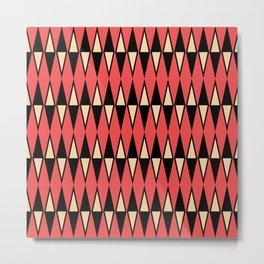 Mid Century Modern Diamond Pattern Red Black cream 231 Metal Print