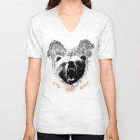 medicine V-neck T-shirts featuring Bear Medicine by Cree Thunder