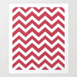 Brick red - pink color - Zigzag Chevron Pattern Art Print
