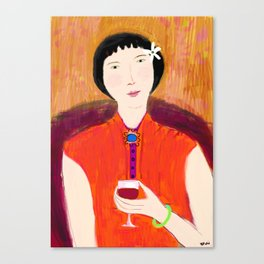 Woman and Wine Canvas Print
