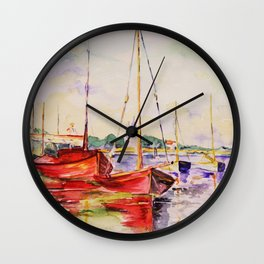 red boats in a little habour-watercolor Wall Clock
