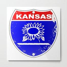 Kansas Interstate Sign Metal Print