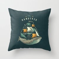 flag Throw Pillows featuring Whale | Petrol Grey by Seaside Spirit