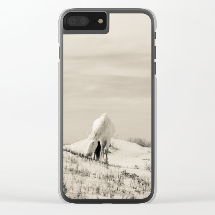 Wild Horses 7 - Black and White Clear iPhone Case