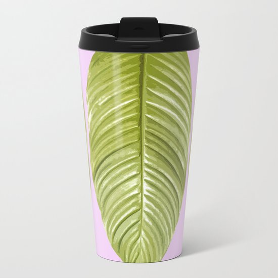 Three large green leaves on a pink background - vivid colors Metal Travel Mug