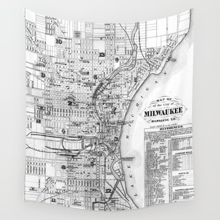 Vintage Map Of Milwaukee Wisconsin BW Wall Tapestry By - Vintage milwaukee map