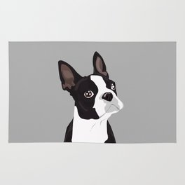 Boston Terrier Portrait - Grey Rug