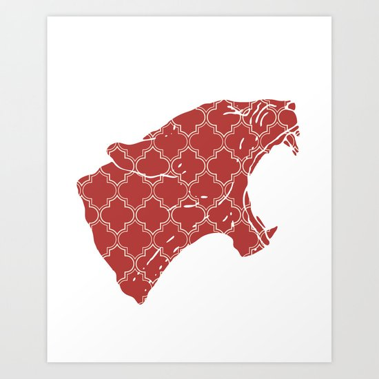 PANTHER SILHOUETTE HEAD WITH PATTERN Art Print