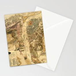 Map Of Prague 1816 Stationery Cards