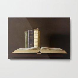 Still life with books Metal Print