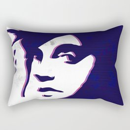 street art style girl in blue and pink on marble pattern Rectangular Pillow