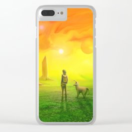 Contemplating an orange world Clear iPhone Case