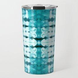 Aqua Satin Shibori Travel Mug