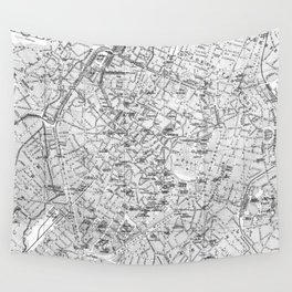 Vintage Map of Brussels (1905) BW Wall Tapestry