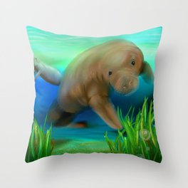 Manatee Illustration Throw Pillow