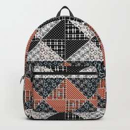 Multicolored black and brown patchwork . Backpack