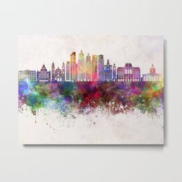 Buenos Aires V2 skyline in watercolor background Metal Print