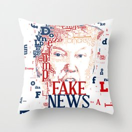 Donald Trump Fake News color Throw Pillow