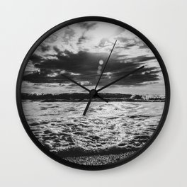Waves North Sea Noise Denmark Hvide Sande Beach bw Wall Clock
