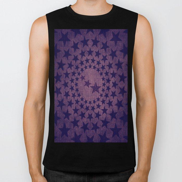 Purple stars decorative pattern Biker Tank