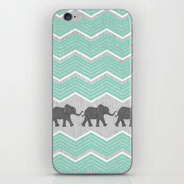 Three Elephants - Teal and White Chevron on Grey iPhone Skin