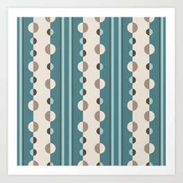 Circles and Stripes in Teal and Cream Art Print