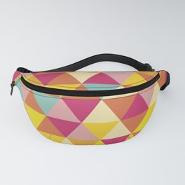 Orange yellow pink geometrical abstract triangles Fanny Pack