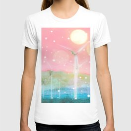 wind turbine in the desert with snow and bokeh light background T-shirt