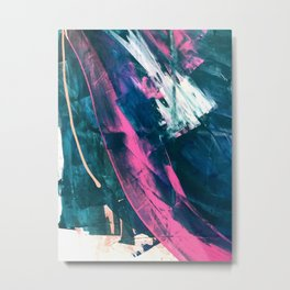 Wild [4]: a bold, vibrant abstract minimal piece in teal and neon pink Metal Print