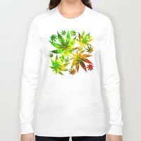 marijuana Long Sleeve T-shirts featuring Marijuana Leaves Rasta Colors by BluedarkArt