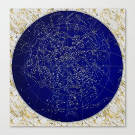 Constellation Stars blue space map on gold marble Canvas Print