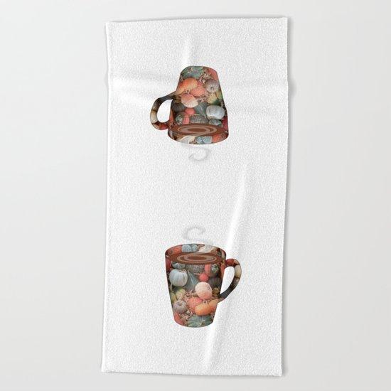 pumpkin spice tall mug - coffee cup series Beach Towel