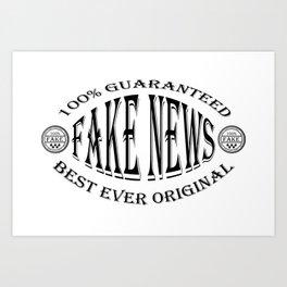 Fake News badge (black on white) Art Print