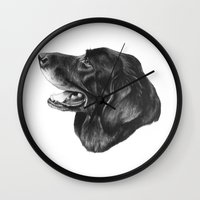 best friend Wall Clocks featuring Best Friend by Moose Art