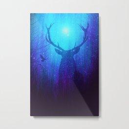Blue Purple Space Deer Metal Print