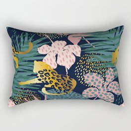 Exotic Golden Jungle Leopard & Pink Palm Leaf Geometric Pattern Rectangular Pillow