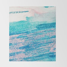 Abstract hand painted blue teal pink watercolor brushstrokes Throw Blanket