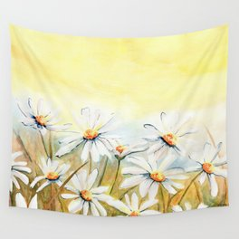 Daisies Watercolor Wall Tapestry