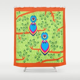 Tropical birds on trees Shower Curtain